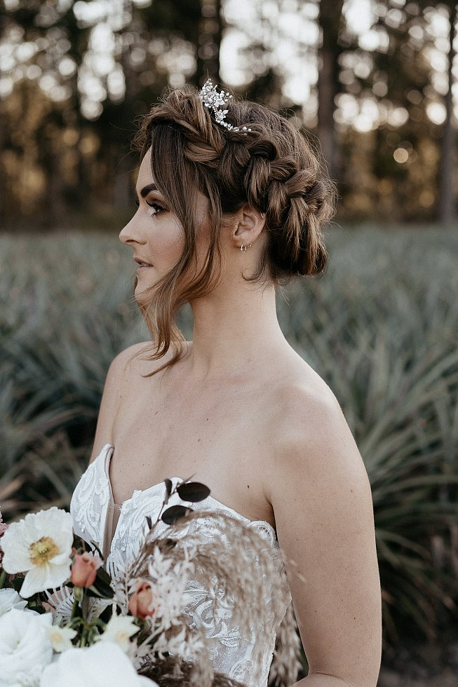 Luxe bobo bride style with braided crown